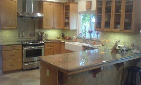Oak insert panel kitchen cabinets