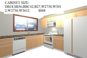Complete kitchen, installed with granite $3,500 comes in Oak and Birch cabinets, ONLY.